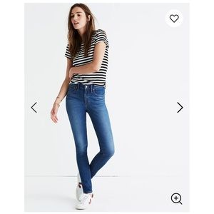 """NWT MADEWELL 9"""" Mid-Rise Skinny Jeans, Size 29"""